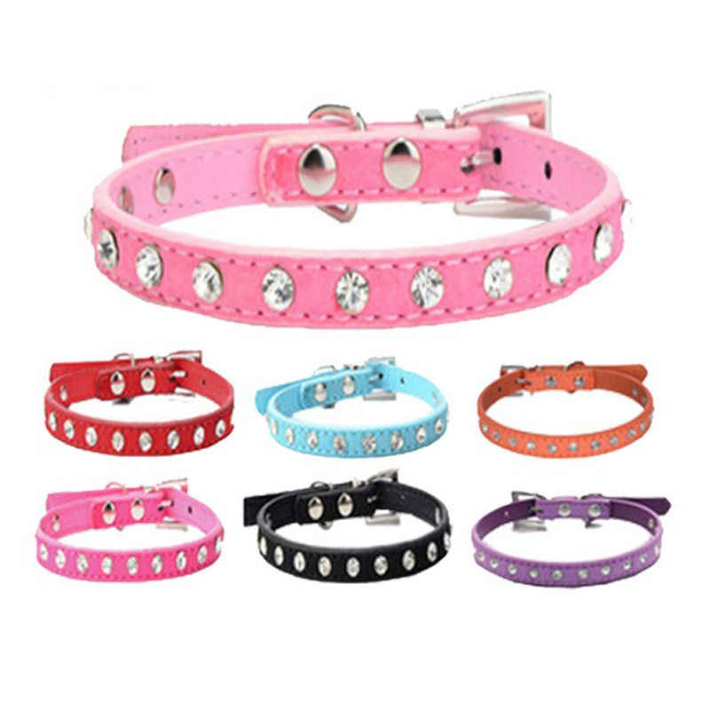 8 Colors Row Rhinestones Decor Soft Suede Leather Dog Puppy Cat Pet Collars Dog Collar Puppy Accessories dogs collars Harnesses