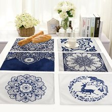 Chinese Style Life 4 pieces Set Kitchen Table Mats Cotton Linen Table Napkin Porcelain Pattern Decorative Placemats(China)