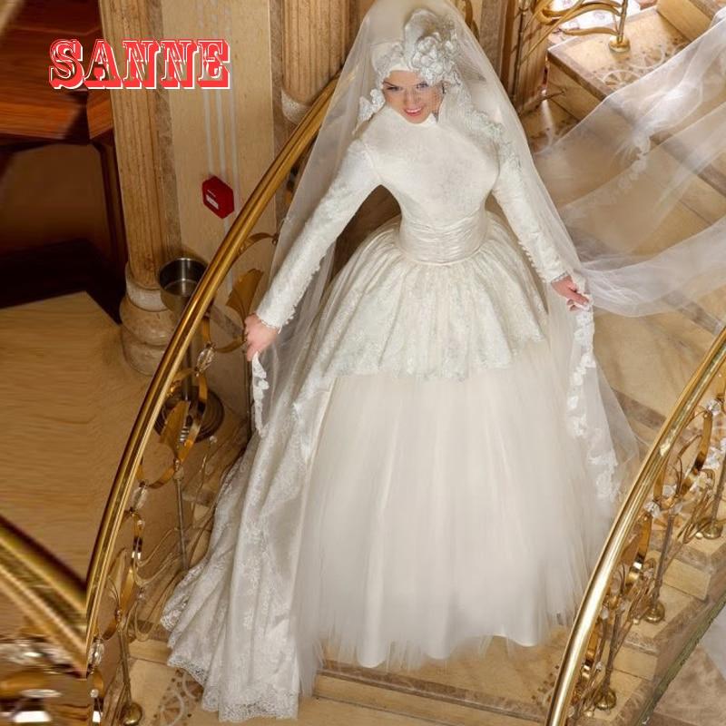 2016 High Neck Long Sleeve Muslim Wedding Dresses with font b Hijab b font High Neck