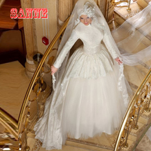 2016 High Neck Long Sleeve Muslim Wedding Dresses with Hijab High-Neck Tiered Tulle Bridal Gown Vestidos De Noiva Princess