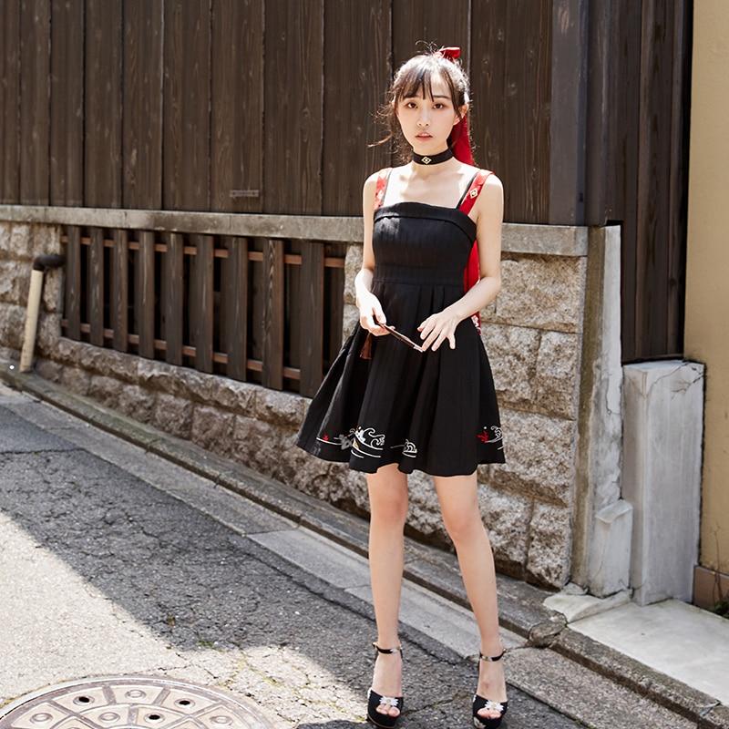 Chinoise Shu Han Vague Hanfu Yujadeeau Une Pièce Dress Broderie Tradition Élément Robe Élégant Jarretelles Noire SzMpqUVG