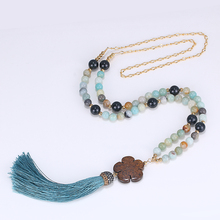 Boho Bohemian Natural Stone Necklace Brown Flower Amazonite Onyx Bead Handmade Sea Blue Tassel Long Necklaces For Women