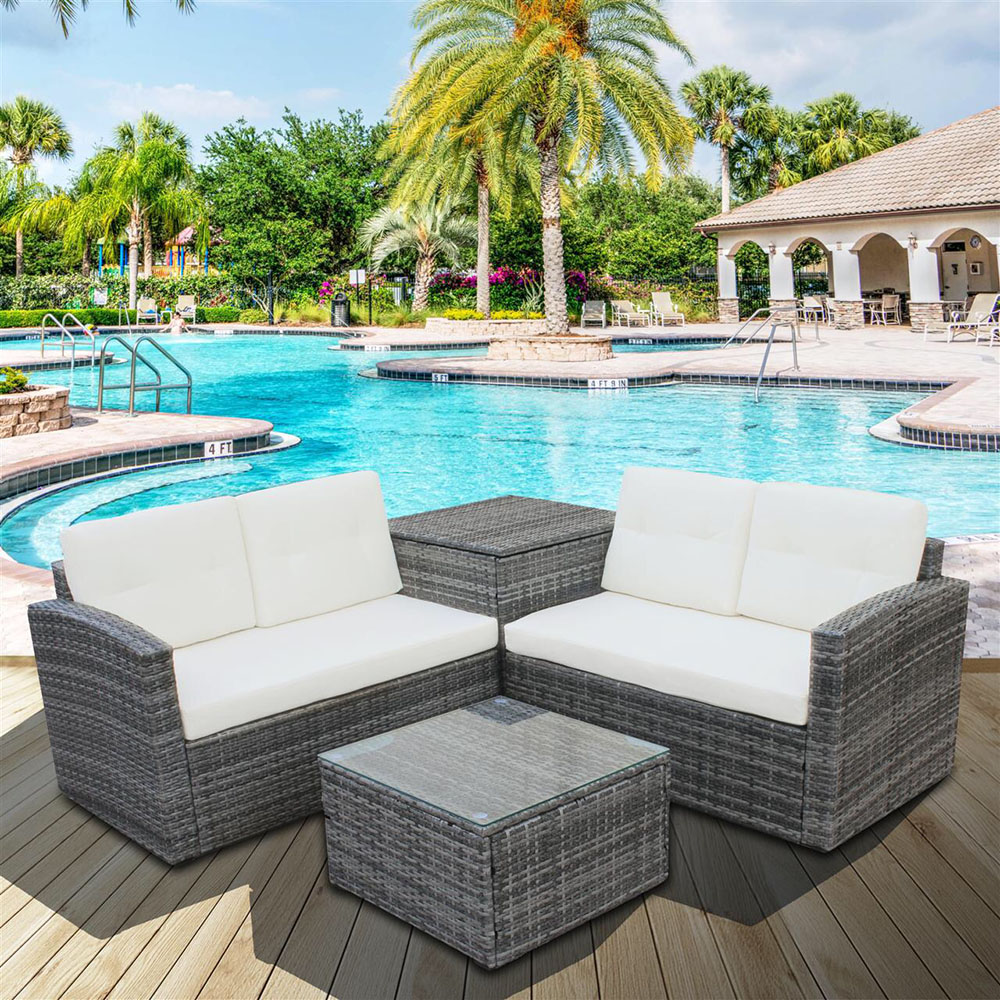 4pcs All-Weather Wicker Outdoor Patio Rattan Sofa Outdoor Living Furniture Set With Small Coffee Table Loveseat Storage Box