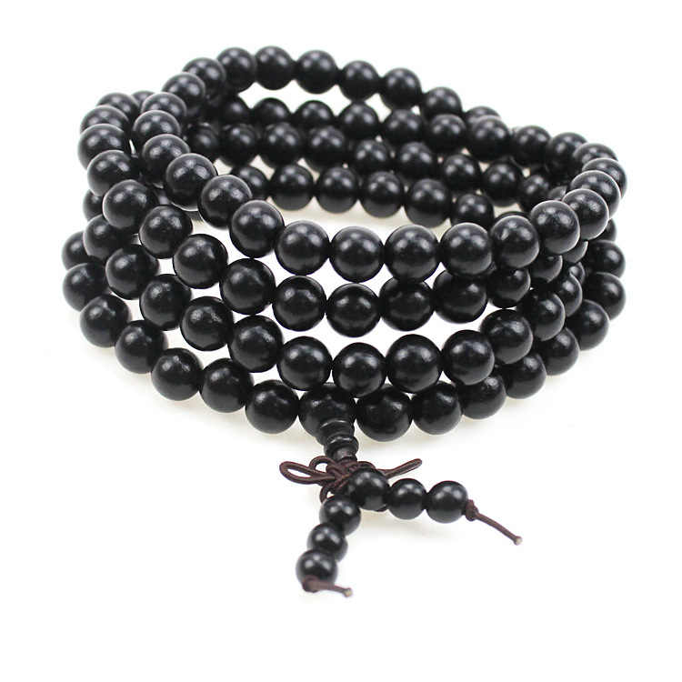 6mm 8mm 108 Beads African Ebony Wood Beads Tibetan Buddhist Buddha Prayer Bracelet Rosary E86