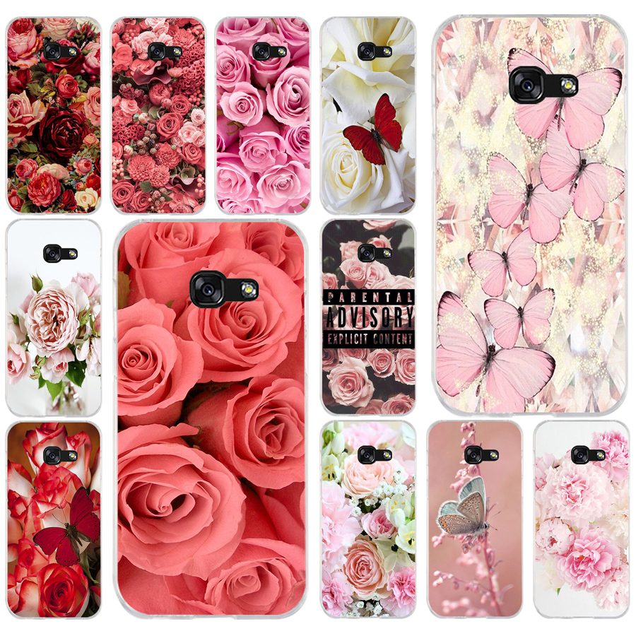 002FG Red butterfly roses flower Soft <font><b>Silicone</b></font> Tpu Cover phone <font><b>Case</b></font> for <font><b>Samsung</b></font> a3 <font><b>2016</b></font> <font><b>a5</b></font> 2017 a6 plus a7 a8 2018 s6 7 8 9 image