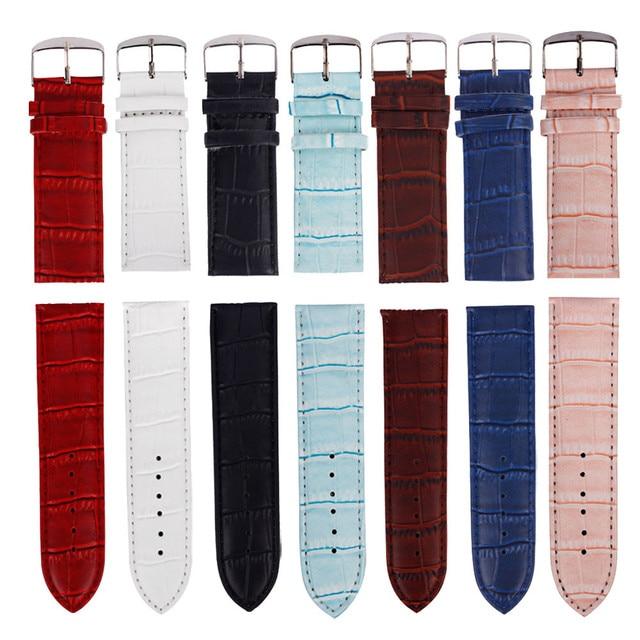 Горячие Sale2016 красочные 14 мм/16 мм/18 мм/20 мм/22 мм/24 мм/26 мм Высокое качество мягкий спортивный кожаный ремешок стальной пряжкой наручные часы