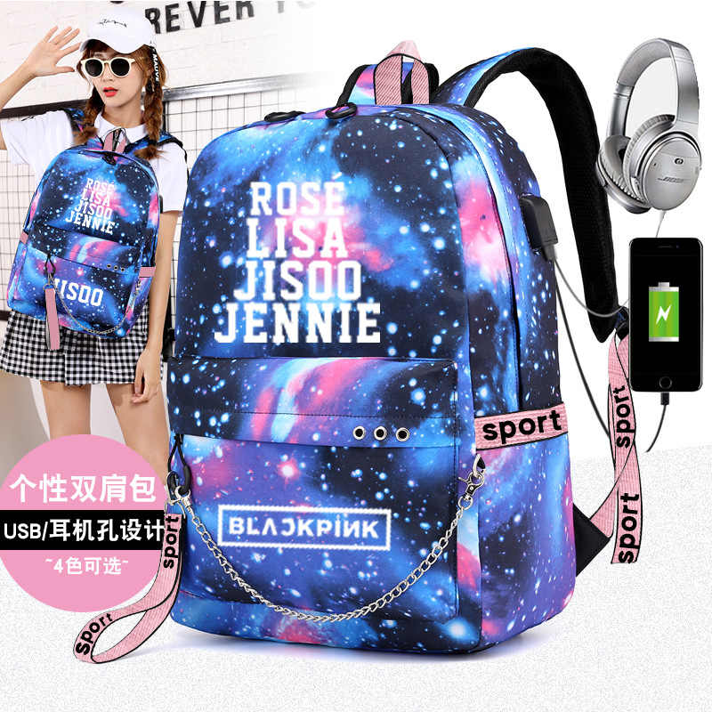 Korean Fashion Harajuku Bag Black Pink KPOP Blackpink Backpack for Teenage Girls LISA JENNIE JISOO ROSE Kawaii Backpack Rucksack