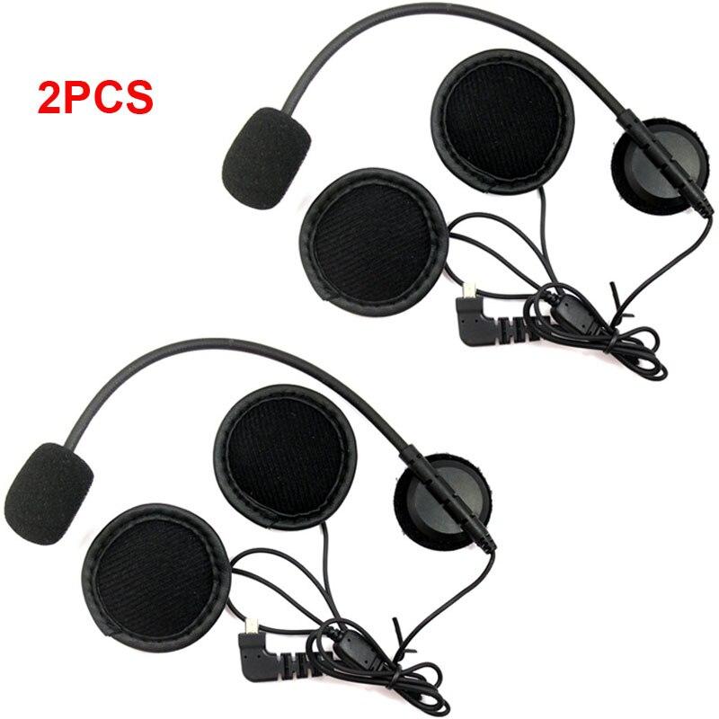 2 pcs Earpiece Microphone Speaker For BT S1 BT S2 BT S3 Motorcycle Bluetooth Intercom Interphone Helmet Headset For Open Helmet
