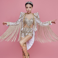Sparkly Gold Rhinestones Long Tassel Bodysuit DJ DS Female Singer Nightclub Bar Team Dance Show Outfit Birthday Party Clothing