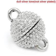 "Copper+Magnetic Hematite Magnetic Clasps Ball Silver Tone 13mm( 4/8"") x 9mm( 3/8""), 1 Set new(China)"