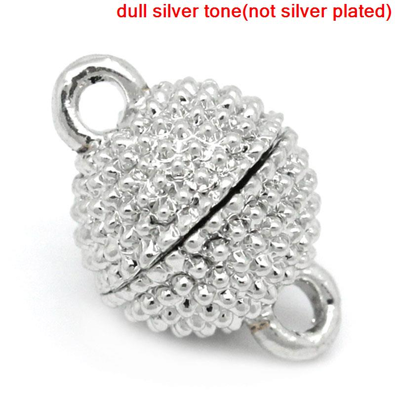 Copper+Magnetic Hematite Magnetic Clasps Ball Silver Tone 13mm( 4/8