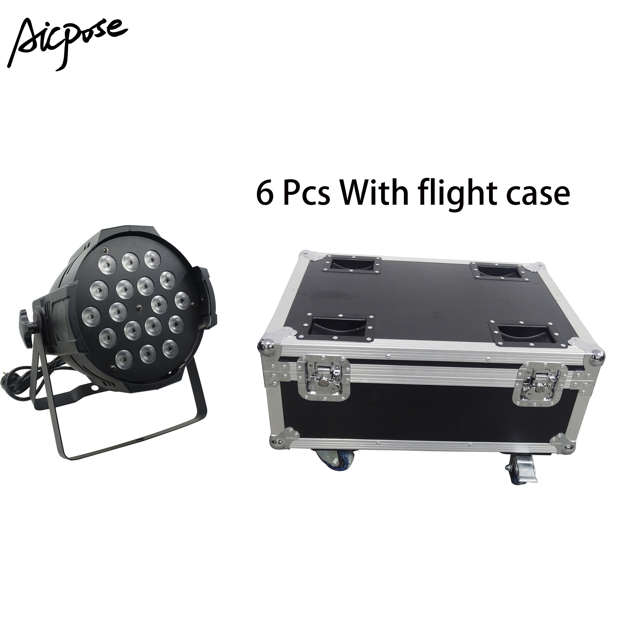 6pcs 18*12w Power In And Out  LED Par Lights 18x12W RGBW 4in1 Par 64 Led Spotlight Dj Projector Stage Light With Flight Case