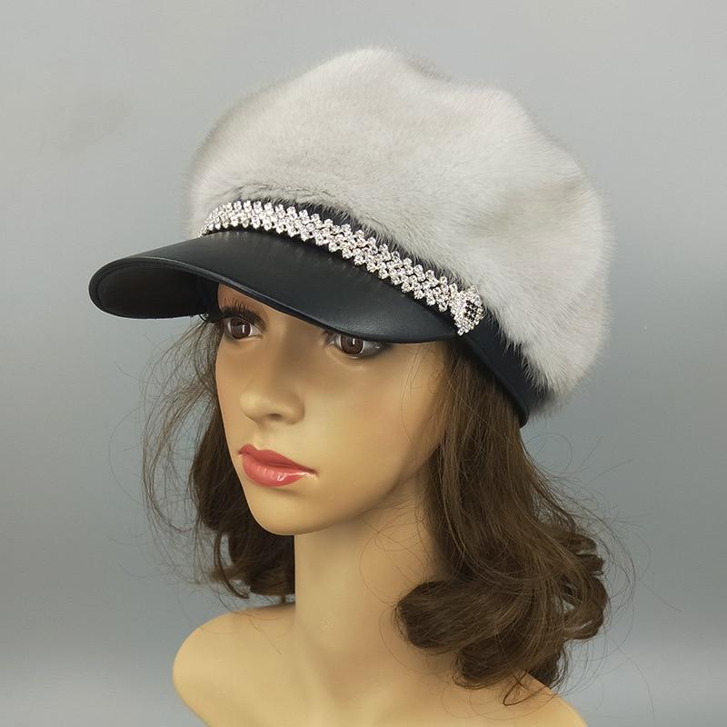 2019 real mink fur hat imported female fur cap luxury high end hat natural fur hat ladies winter warm hat with cap octagonal cap - 4