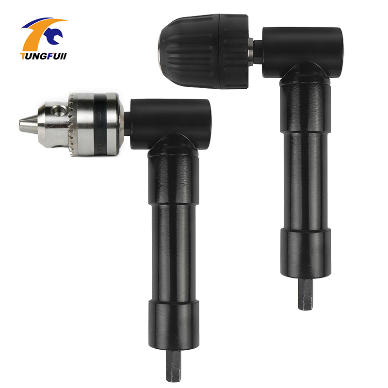90 Degree Right Angled Adapter Keyless Chuck Electric Drill Adapter Electric Power Cordless Drill Attachment Angle Rotary Tools