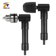 90 graus direito angular adaptador keyless chuck broca elétrica adaptador de energia elétrica sem fio broca acessório ângulo ferramentas giratórias