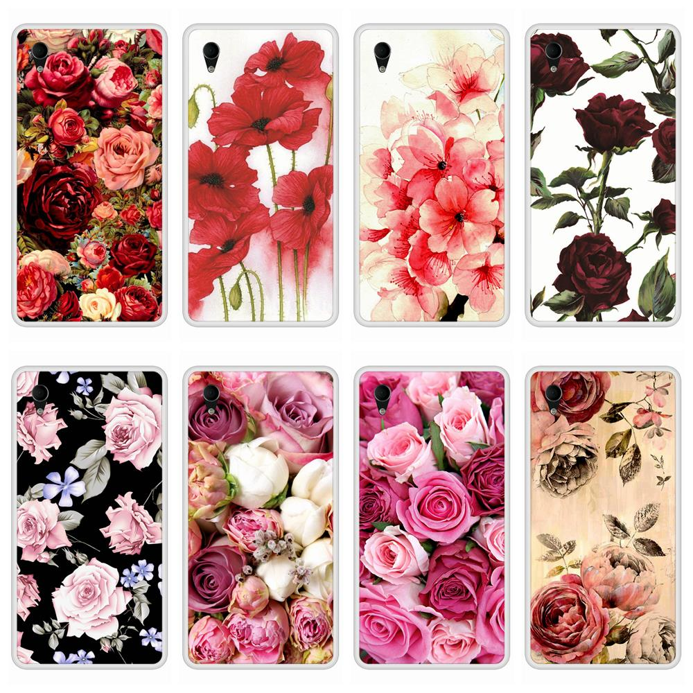 Case For  Sony Xperia M4 Aqua Soft Silicone TPU Floral Flower Patterned Painting Phone Cover For  Sony Xperia M4 Aqua Case Cover
