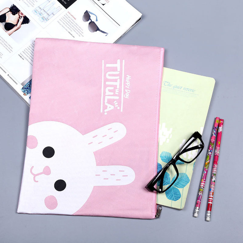1pcs Large Size Cute Cartoon Style A4 File Bag File Holder External Oxford Interior Pu Waterproof