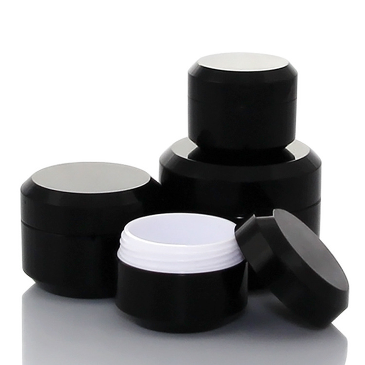 20pcs/lot 5g/10g/15g/30g Empty Cream Jar Plastic Cosmetic Packaging Bottle Black Eyeshadow Makeup Packaging Pot