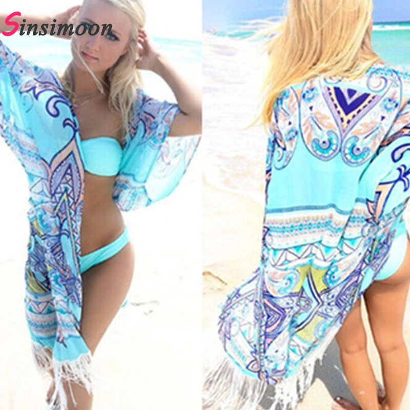 2018 Women Beach Robe Cover up Retro Vintage Bathing Suit Dress Swimsuit Fringe Beachwear Floral Print Swimwear Chiffon Dress