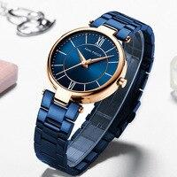 MINIFOCUS Top Brand Luxury Ladies Wrist Watch New Blue Fashion Female Stainless Steel Rose Gold Quartz Women Watch Montre Femme