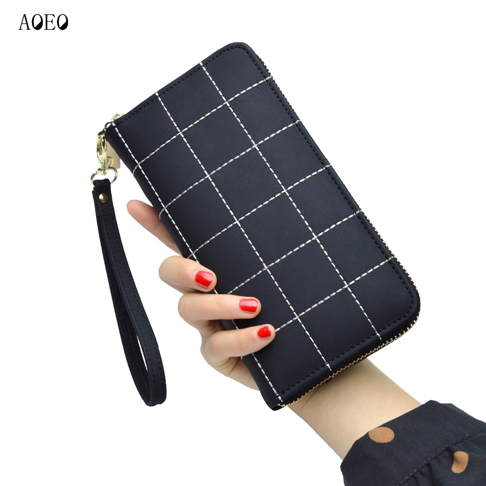 цены на AOEO Plaid Ladies Wallet For Phone With Coin Purses Holders Wristlet Large Capacity Womens Purses And Wallets Girls Female Purse  в интернет-магазинах