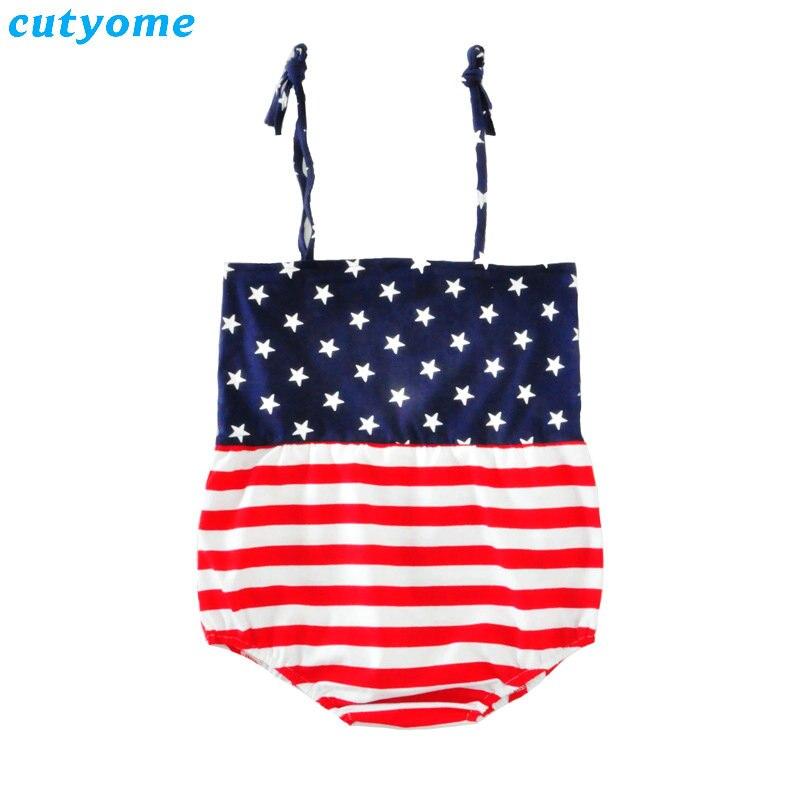 Cutsome Baby Girls Romper czwartego lipca Odzież Outfit Infantil bez - Odzież dla niemowląt - Zdjęcie 4
