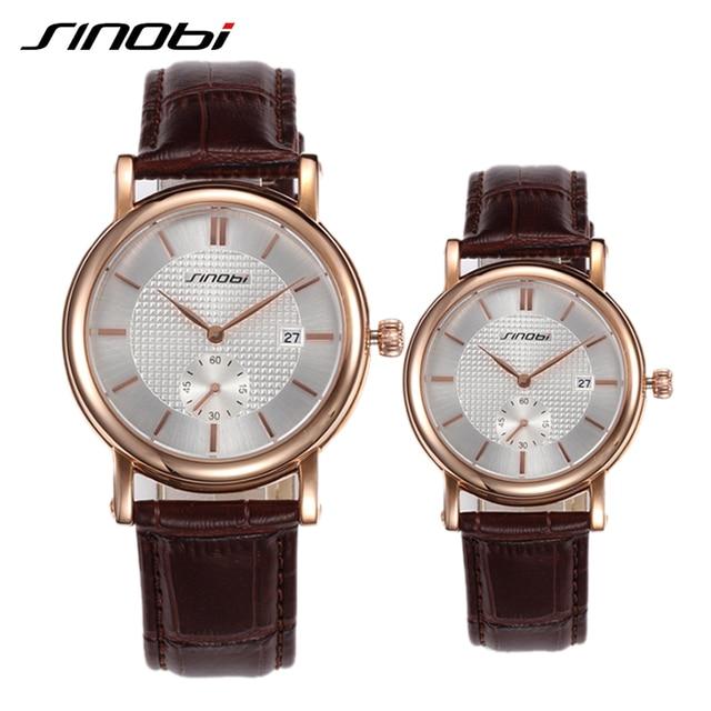 842a70af8041 Amantes SINOBI reloj de pulsera correa de cuero de calidad superior nuevo  marca de lujo del ...