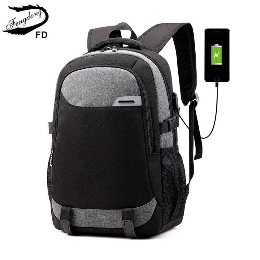 Fengdong Student School Backpack For Boy Usb Bag Teen Boy Waterproof Large Travel Backpack With Luggage Belt Men School Bag Pack