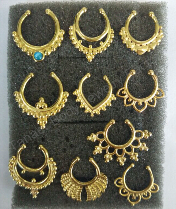 Free Shipping Mix Design All GOLD Color Fake Faux Clip on Non