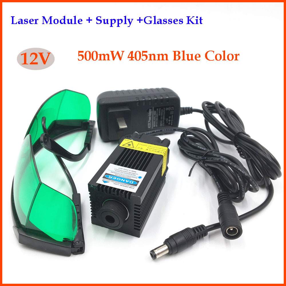 1.6W Laser Module 450nm Blue Focus Adjustable 12V Laser Module Diode Head + Glasses+Power Supply+Connector for Laser Engraving 250mw adjustable focus red dot laser diode module with power supply box