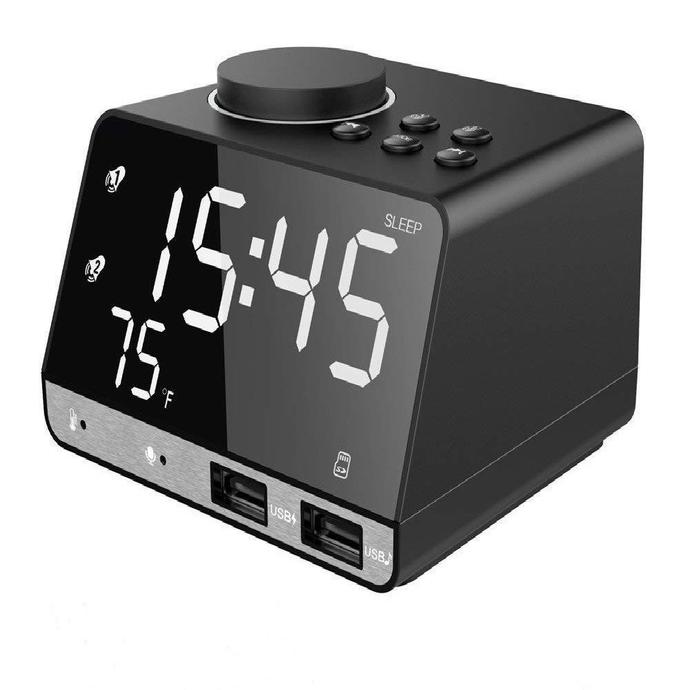 Réveil numérique avec haut-parleur Bluetooth sans fil, chargement USB, Snooze, jeu de cartes AUX TF, Radio FM, thermomètre, grand miroir