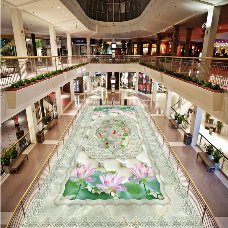 US $123 38 38% OFF|Free Shipping high quality 3D marble soft lotus carp  flooring wallpaper office restaurant kitchen self adhesive floor mural-in