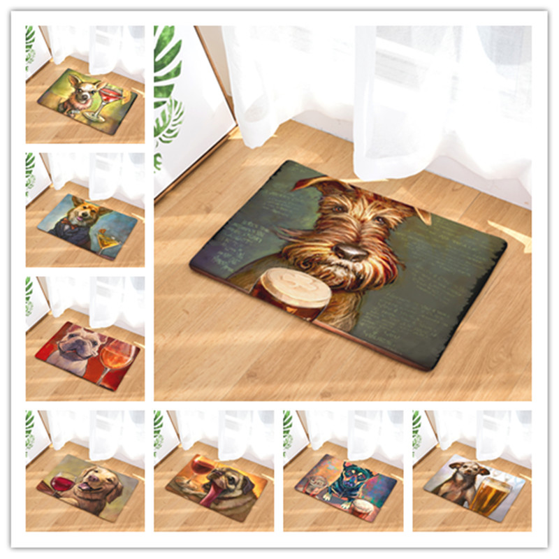 New Doormat Carpets Personality Oil Painting Dog  Print Mats Floor Kitchen Bathroom Rugs 40X60or50x80cm