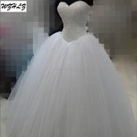 Luxury White Heavy Beaded Princess Wedding Dress 2016 Real Photos Tulle Ball Gown Bridal Dress Vestidos