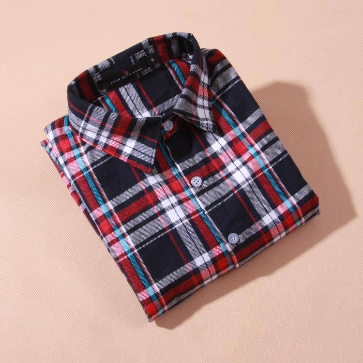 Bluzka koszula damska bluzka w kratę 100% bawełna Bluzka z długim - Ubrania Damskie - Zdjęcie 2