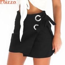 Ebizza Pack Hip Lace-Up Short Women Skirt High Waist Casual Bottom Bandage Black Vintage Zipper Split Pencil Female Skirts