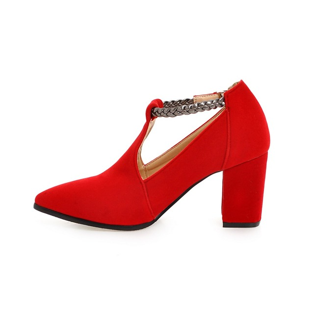 S.Romance Women Pumps Plus Size 34-43 Fashion Elegant Pointed Toe High Heels Wedding Lady Woman Shoes Black Red Blue SH541