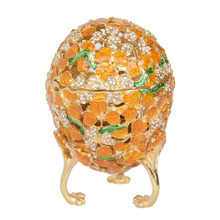 Faberge Egg Box golden leaves Trinket crystal bejeweled Jewelry Box leaf Easter egg collectible gifts metal jewelry treasure box(China)