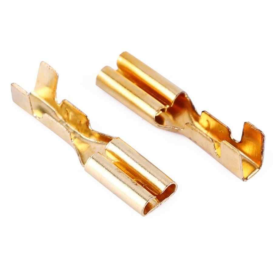 100 pares de terminales de crimpado conector 2,8mm oro latón altavoz del coche eléctrico conectores de cable micro conector de cable