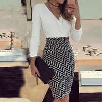Senhora do escritório elegante vestido feminino formal de negócios estiramento noite lápis fino vestido de moda xadrez retalhos vestidos de festa