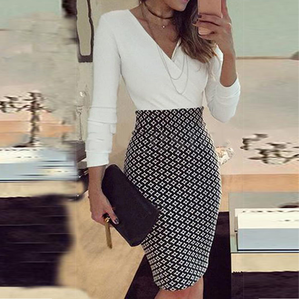 Office Lady Elegant Dress Women Formal Business Stretch Evening Slim Pencil Dress Fashion Plaid Patchwork Party Dresses Vestido