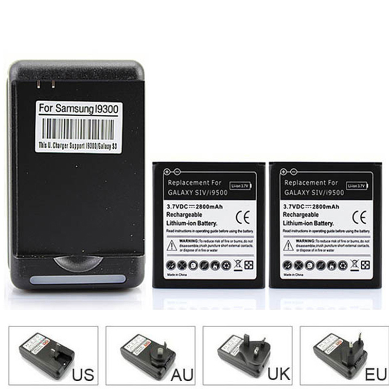 High Quality 2x 2800mAh Replacement Phone Battery Bateria for Samsung Galaxy SIV S4 i9500 + USB Wall Charger