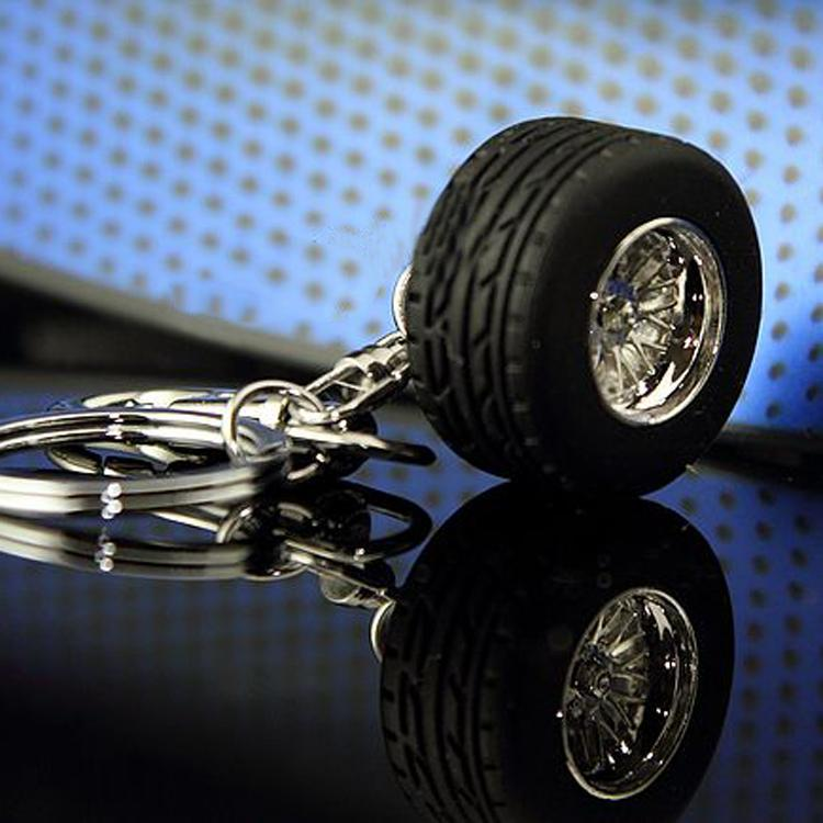 1 pcs Rubber Metal Keychain Wheel Tyre Tire Key Chain Ring Keyring Keyfob Car Styling Ac ...