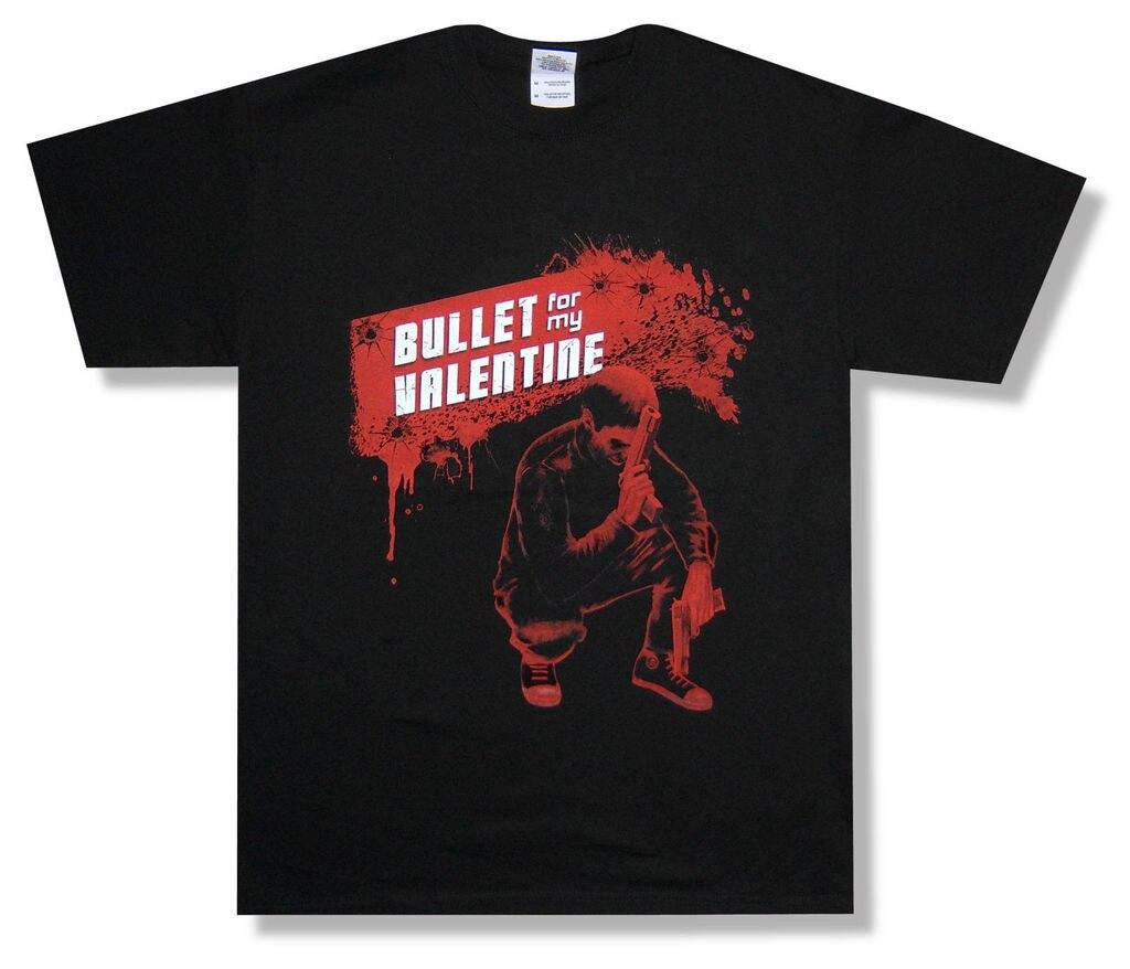 Bullet For My Valentine Красный Выстрел Брызги Черная Футболка Новый Официальный