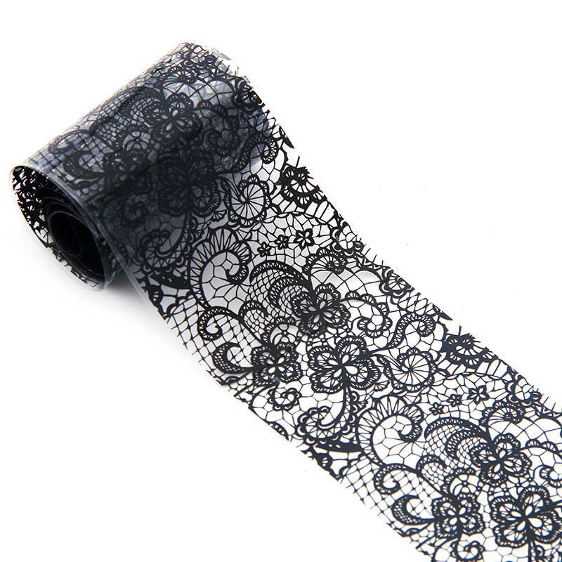 Black Foil Lace Flowers Nail Art Transfer Foils Adhesive Stickers On ...