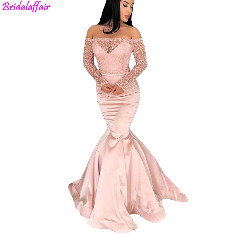 Modest cheap Evening   Dresses   Off Shoulder Long Sleeves Mermaid   Prom     Dresses   Satin Back Zipper See Through See Through Party Gown