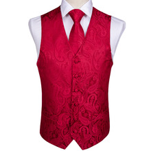 DiBanGu Mens Classic Party Wedding Red Paisley Jacquard Waistcoat Vest Pocket Square Tie Suit Set MJ-102
