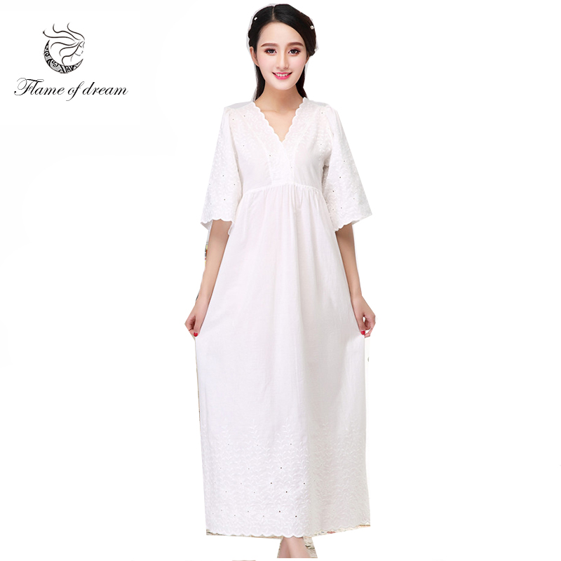 Autumn nightgwon cotton material good Womens Cotton Nightshirts Camisola De Dormir 979