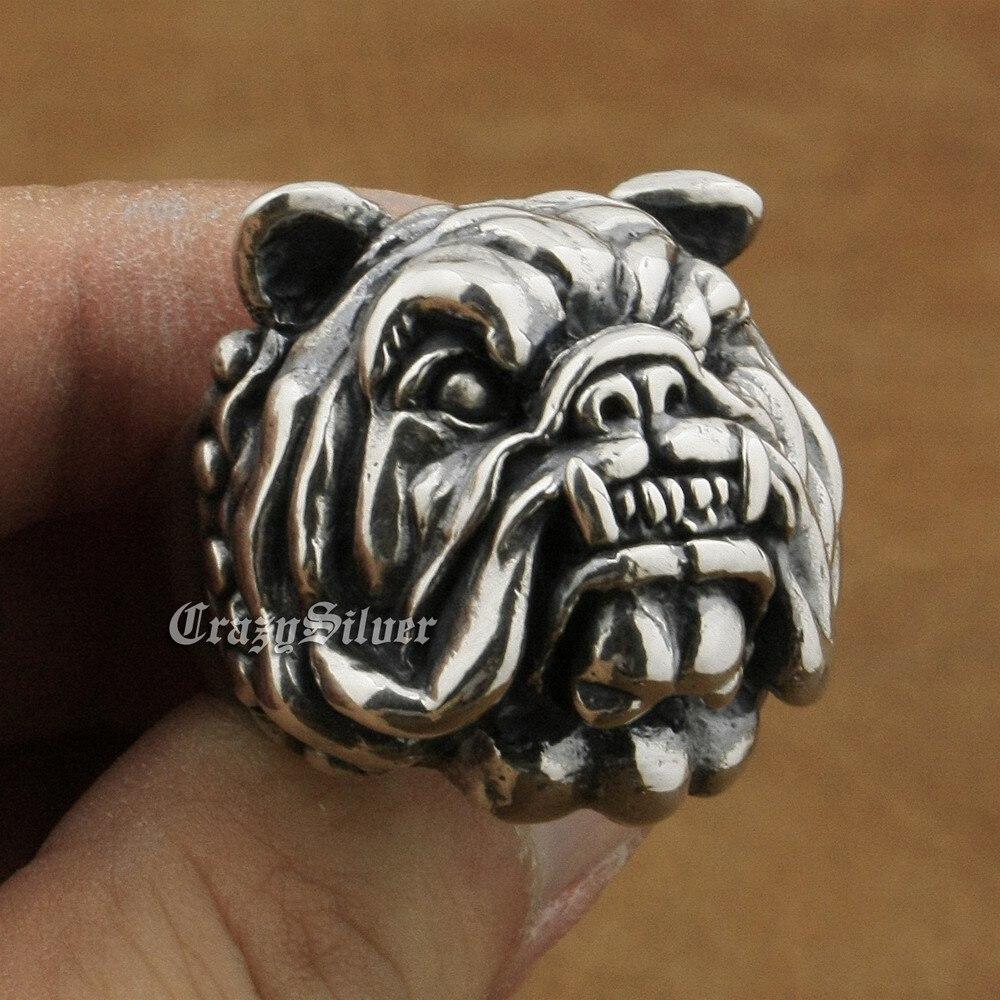 Earnest Linsion Huge Heavy 925 Sterling Silver Pitbull Bulldog Ring Mens Biker Rock Punk Ring Ta12 Us Size 7~15 High Resilience