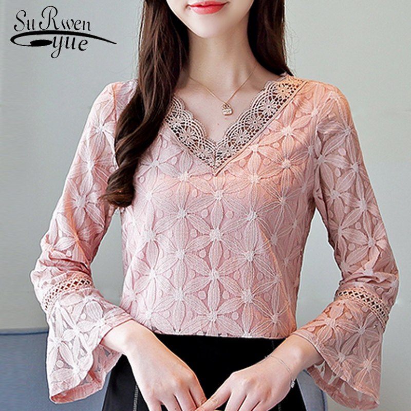 fashion women   blouses   2019 long sleeve lace   blouse     shirt   women tops pink V-neck   blouse   women blusa feminina   shirt   women 0909 40